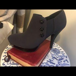 Black and Navy High Heel Booties